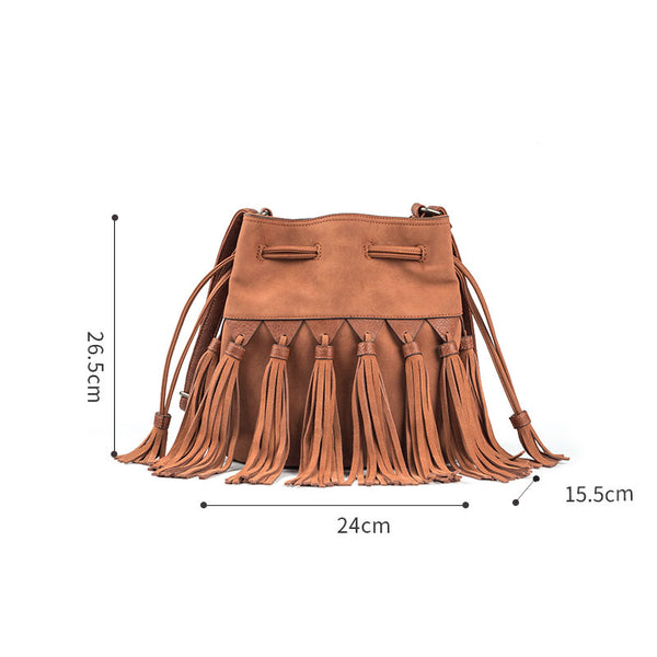 Western Womens PU Leather Crossbody Bucket Purse With Fringe  Bags for Women Chic