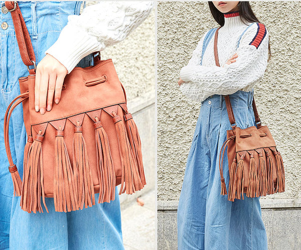 Western Womens PU Leather Crossbody Bucket Purse With Fringe  Bags for Women Cowhide