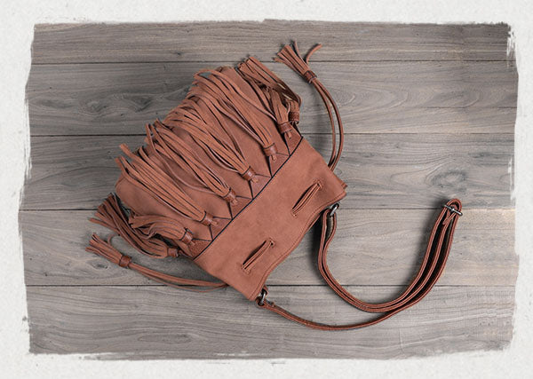 Western Womens PU Leather Crossbody Bucket Purse With Fringe  Bags for Women Designer