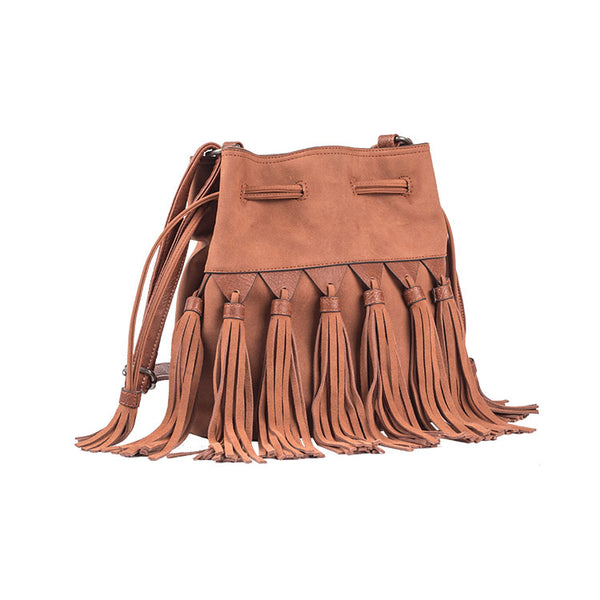 Western Womens PU Leather Crossbody Bucket Purse With Fringe  Bags for Women Details
