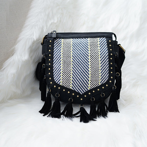 Western Womens Vegan Leather Black Fringe Crossbody Purse Hobo Bag For Women Accessories