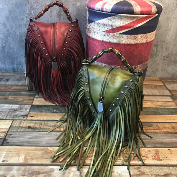 Boho Womens Red Leather Fringe Handbags Purse Small Shoulder Bag for Women