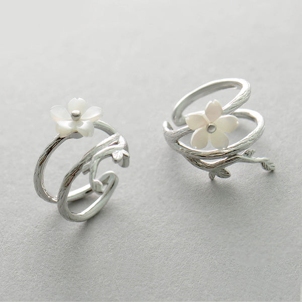 Womens Flower Sterling Silver Cartilage Earrings Clip On Earrings for Women