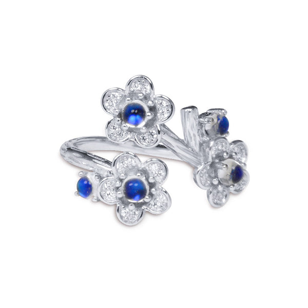 White Gold Plated Silver Blue Moonstone Ring June Birthstone Rings for Women adorable