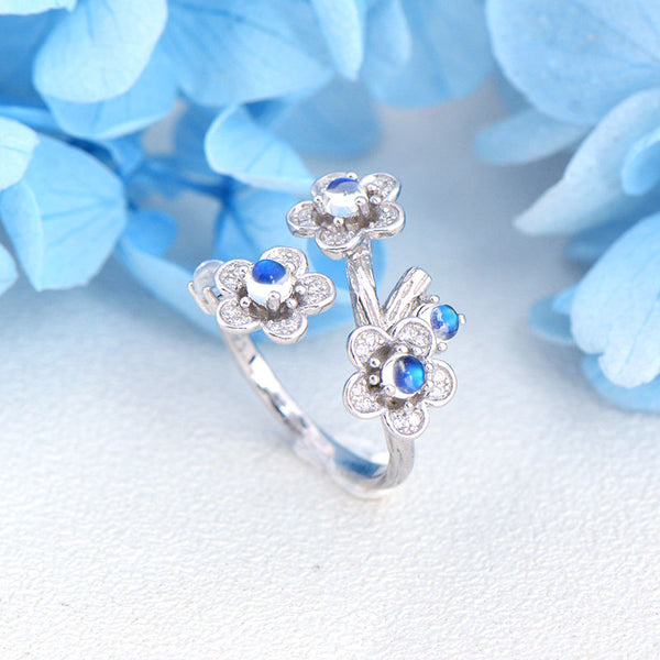 White Gold Plated Silver Blue Moonstone Ring June Birthstone Rings for Women