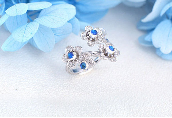 White Gold Plated Silver Blue Moonstone Ring June Birthstone Rings for Women chic