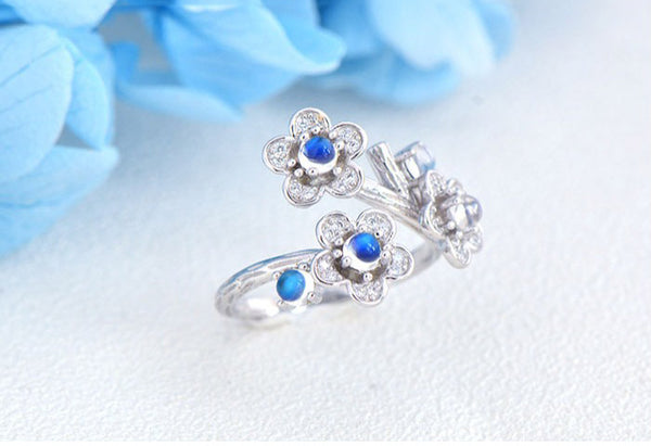 White Gold Plated Silver Blue Moonstone Ring June Birthstone Rings for Women charm