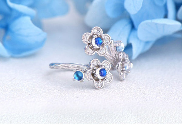 White Gold Plated Silver Blue Moonstone Ring June Birthstone Rings for Women cool