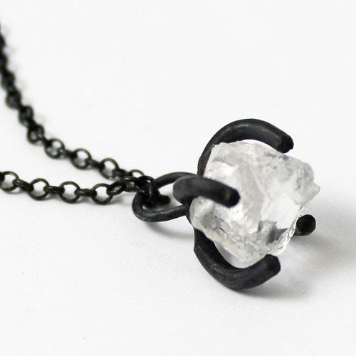 White Quartz Crystal Pendant Necklace Vintage Silver Handmade Unique Jewelry Women left