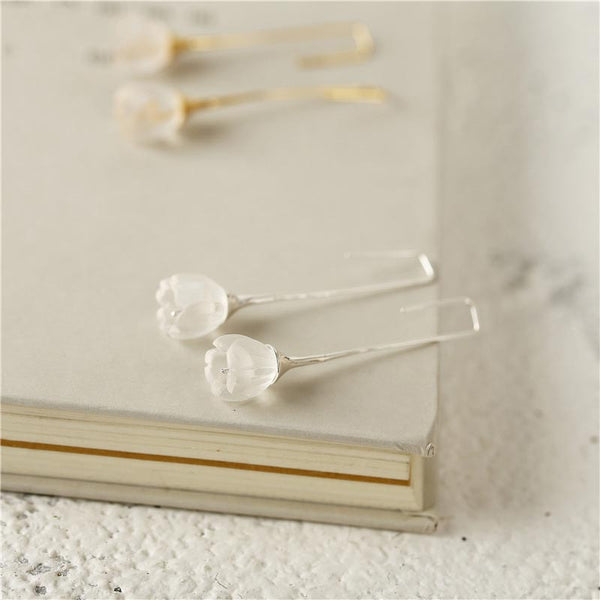White Quartz Dangle Earrings Silver Gifts Women hook earrings