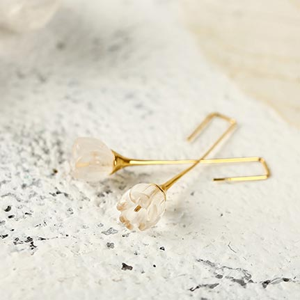White Quartz Earrings Silver crystal cute jewelry