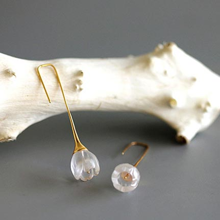 White Quartz Earrings Silver crystal for her