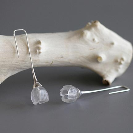 White Quartz Crystal Flower Dangle Earrings in Sterling Silver Handmade Jewelry Gifts For Women