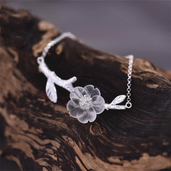 White Quartz Crystal Flower Bracelets in Sterling Silver Gifts For Women