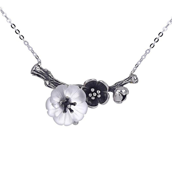 White Quartz Crystal Flower Pendant Necklace in Sterling Silver Handmade Jewelry For Women