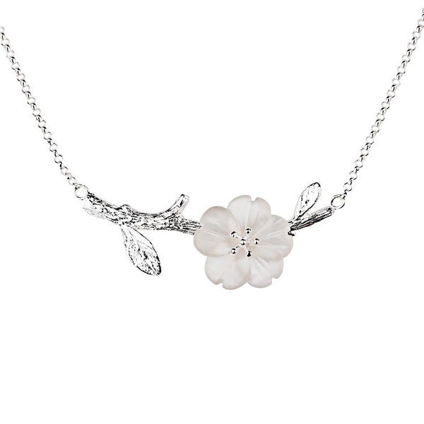 White Quartz Flower Pendant Necklace