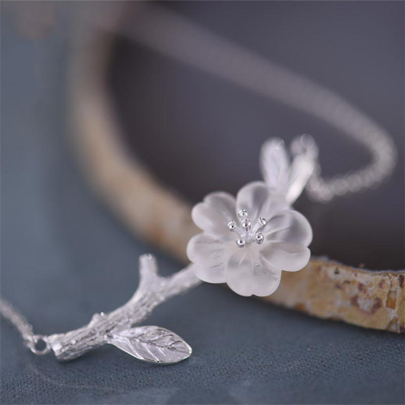 White Quartz Flower Pendant silver Necklace