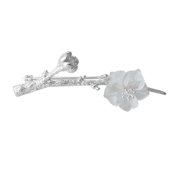 White Quartz Flower Silver Brooch
