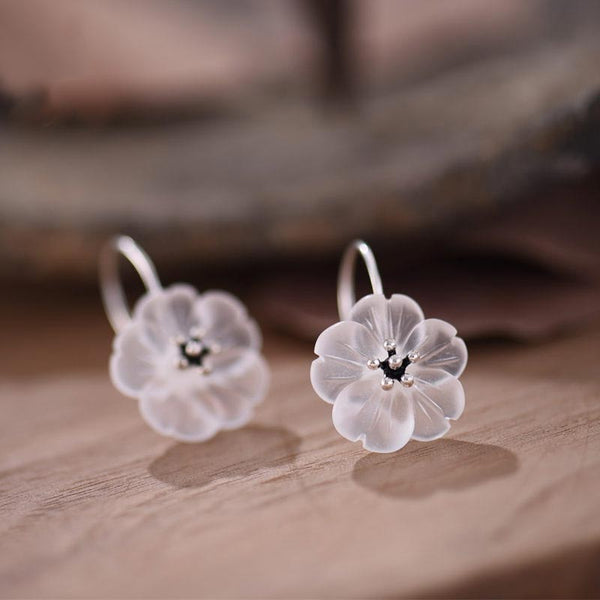 White Quartz Crystal Flower Hook Earrings in Sterling Silver Handmade Jewelry Gifts For Women