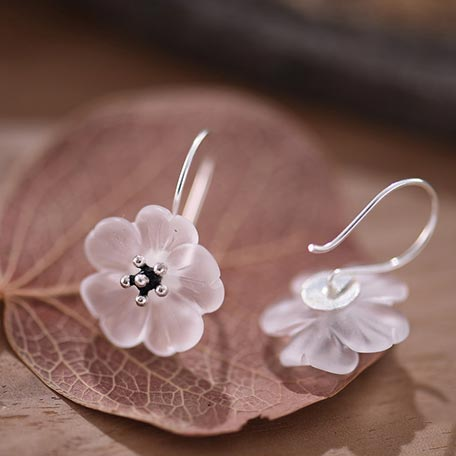 White Quartz Sterling Silver Hook Earrings