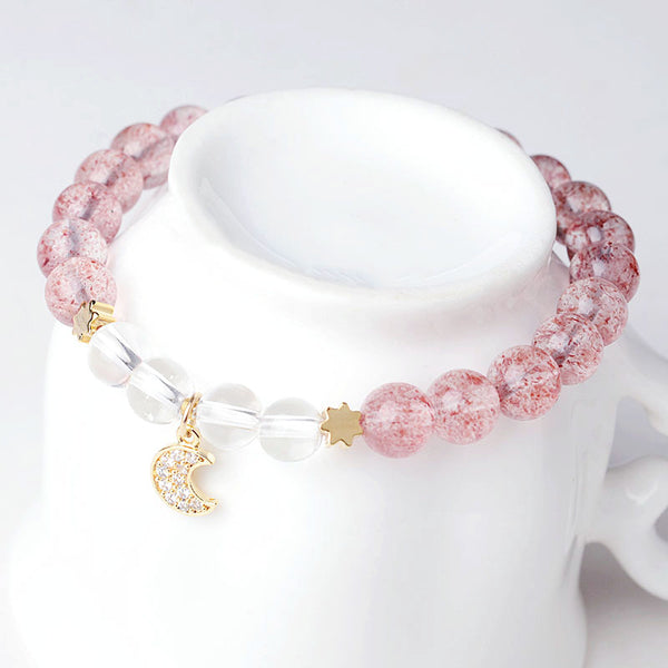 White Strawberry Quartz crystal Bead Bracelet Handmade Jewelry Women cute