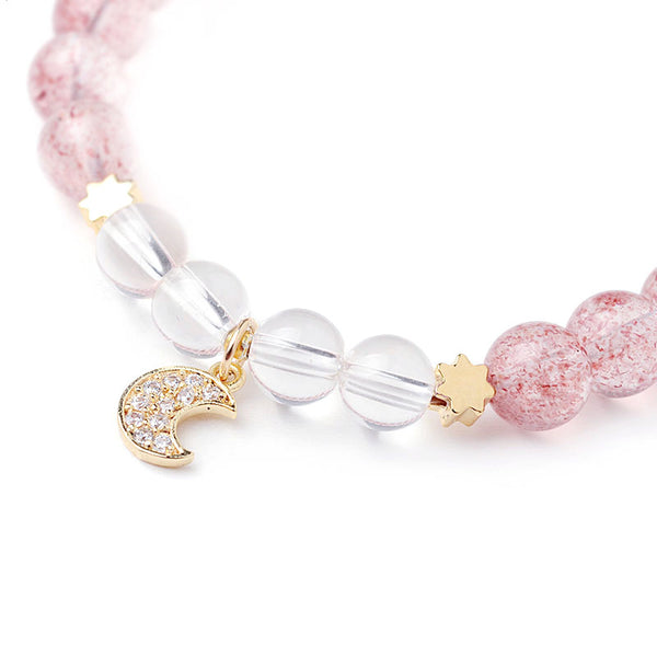 White Strawberry Quartz crystal Bead Bracelet Handmade Jewelry Women pink