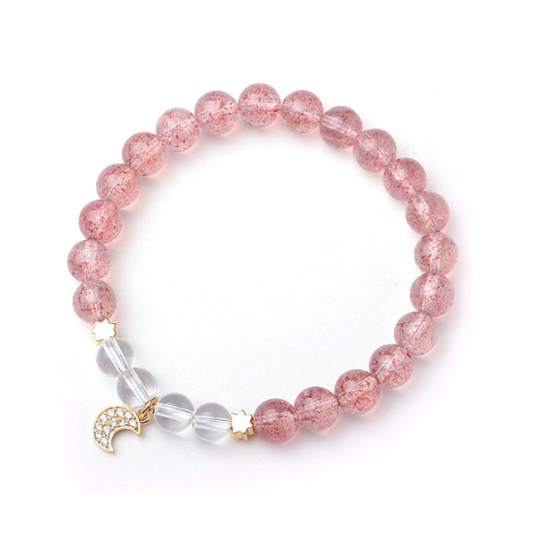 White Strawberry Quartz crystal Bead Bracelet Handmade Jewelry Women