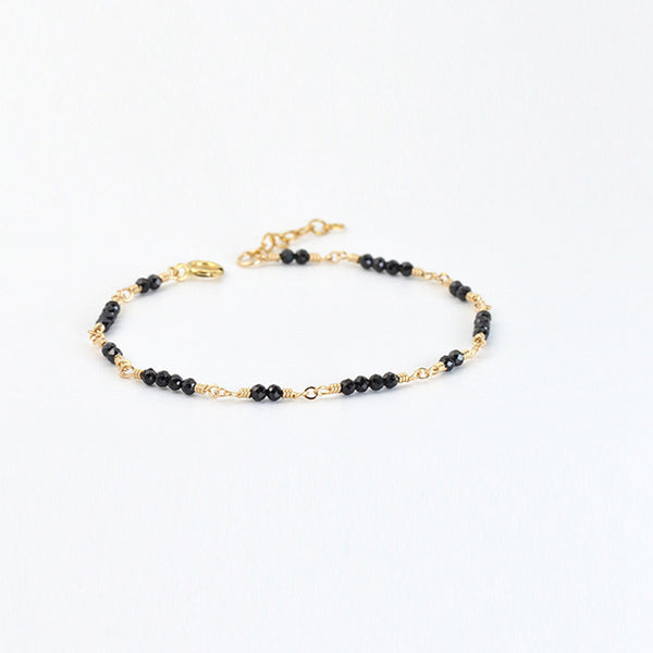 Women 14K Gold Black Spinel Beaded Bracelets Charm Bracelets for Women Boutique