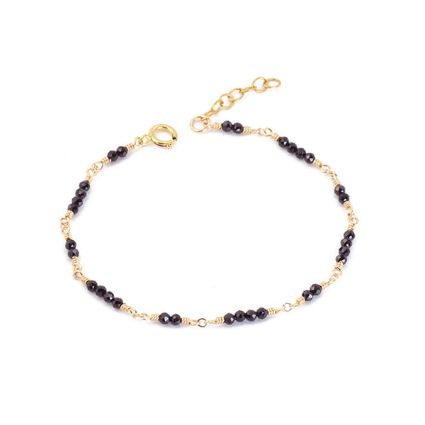 Women 14K Gold Black Spinel Beaded Bracelets Charm Bracelets for Women best