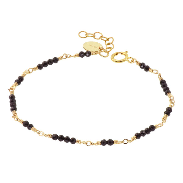 Women 14K Gold Black Spinel Beaded Bracelets Charm Bracelets for Women chic