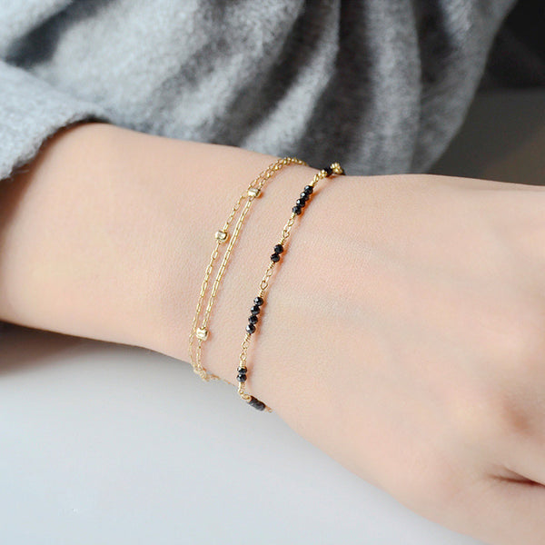 Women 14K Gold Black Spinel Beaded Bracelets Charm Bracelets for Women