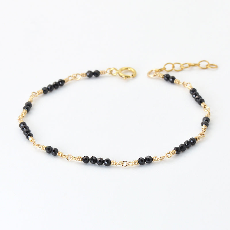 Women 14K Gold Black Spinel Beaded Bracelets