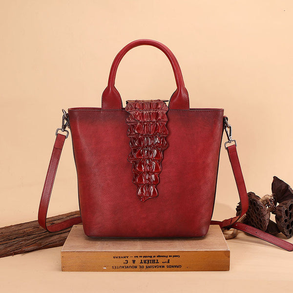 Alligator Pattern Womens Brown Leather  Crossbody Tote Purse Handbags for Women