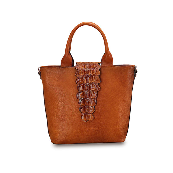 Women Alligator Pattern Brown Leather Totes Handbags