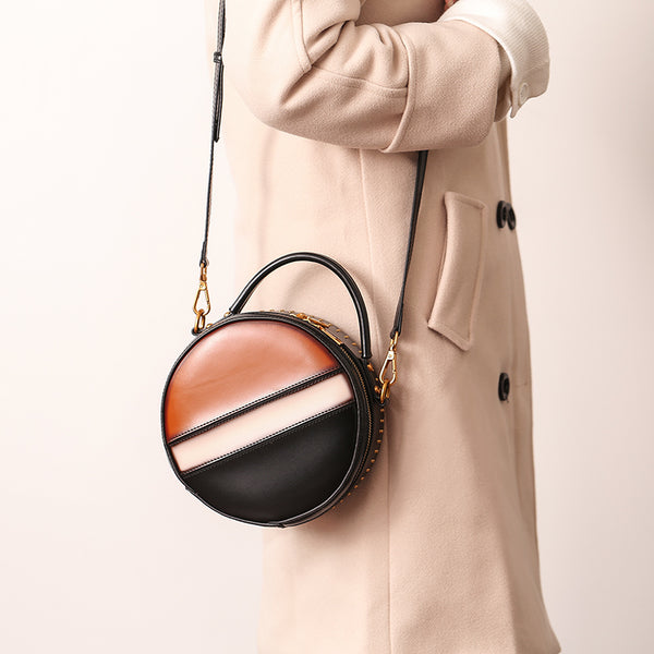 Women Circle Bag Leather Crossbody Bags Shoulder Bag Purses for Women Accessories