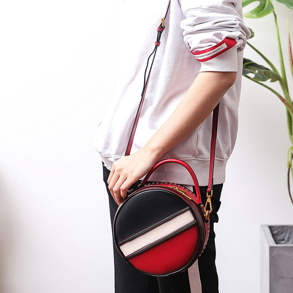 Women Circle Bag Leather Crossbody Bags Shoulder Bag Purses for Women Brown