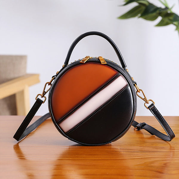 Women Circle Bag Leather Crossbody Bags Shoulder Bag Purses for Women Chic