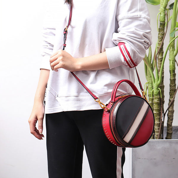 Women Circle Bag Leather Crossbody Bags Shoulder Bag Purses for Women cool