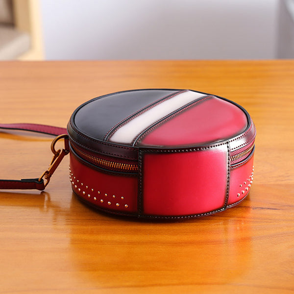 Women Circle Bag Leather Crossbody Bags Shoulder Bag Purses for Women gift