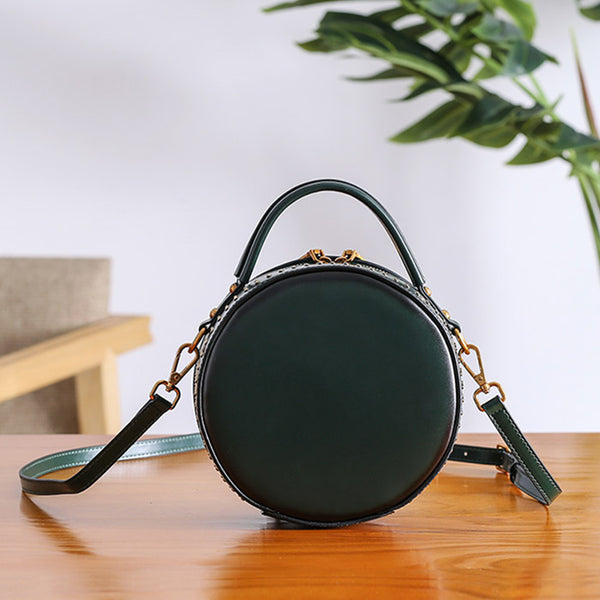 Women Circle Bag Leather Crossbody Bags Shoulder Bag Purses for Women small