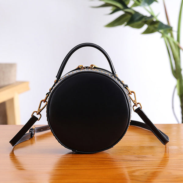 Women Circle Bag Leather Crossbody Bags Shoulder Bag Purses for Women Unique