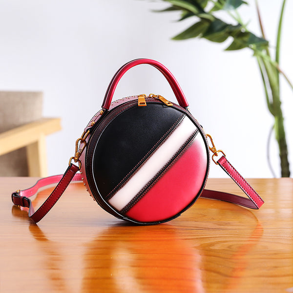 Women Circle Bag Leather Crossbody Bags Shoulder Bag Purses for Women