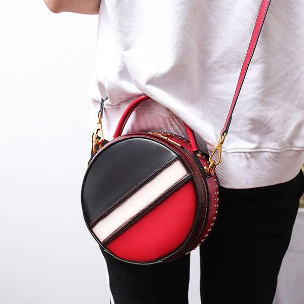 Women Circle Bag Leather Crossbody Bags Shoulder Bag Purses for Women cowhide