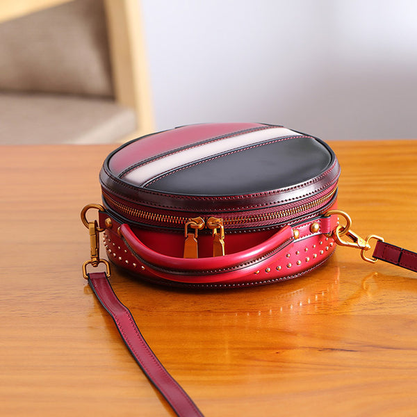 Women Circle Bag Leather Crossbody Bags Shoulder Bag Purses for Women Designer