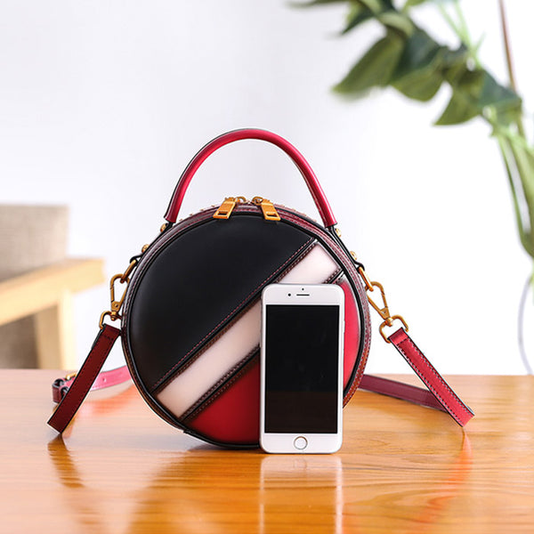 Women Circle Bag Leather Crossbody Bags Shoulder Bag Purses for Women Genuine Leather