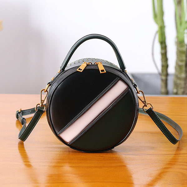 Women Circle Bag Leather Crossbody Bags Shoulder Bag Purses for Women Handmade