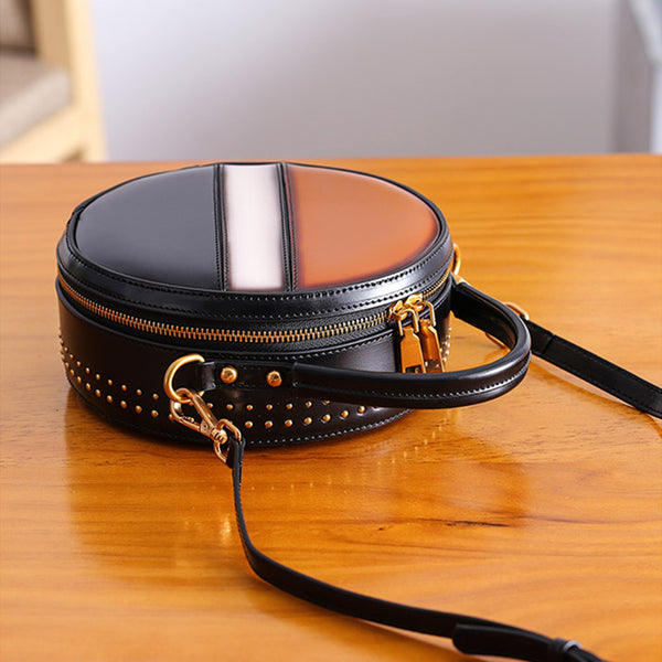 Women Circle Bag Leather Crossbody Bags Shoulder Bag Purses for Women stylish