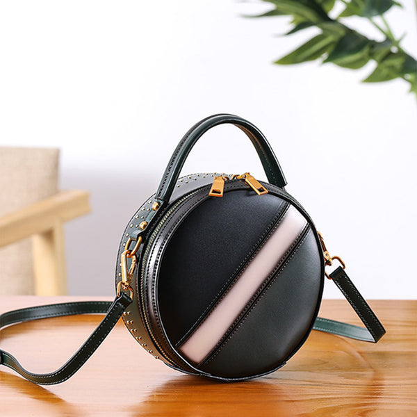 Women Circle Bag Leather Crossbody Bags Shoulder Bag Purses for Women Vintage