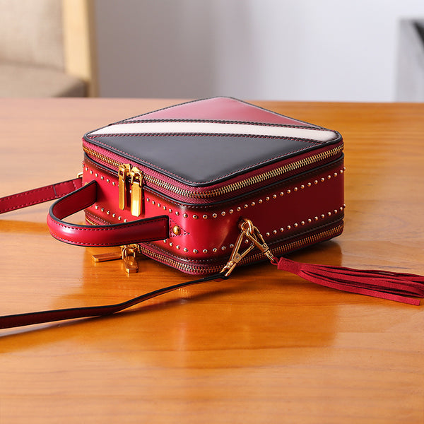 Women Cube Bag Leather Crossbody Bags Shoulder Bag Purses for Women Accessories