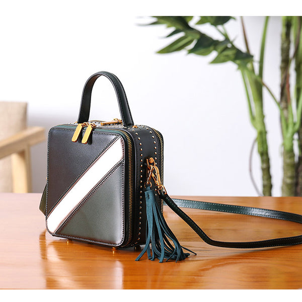 Women Cube Bag Leather Crossbody Bags Shoulder Bag Purses for Women Boutique